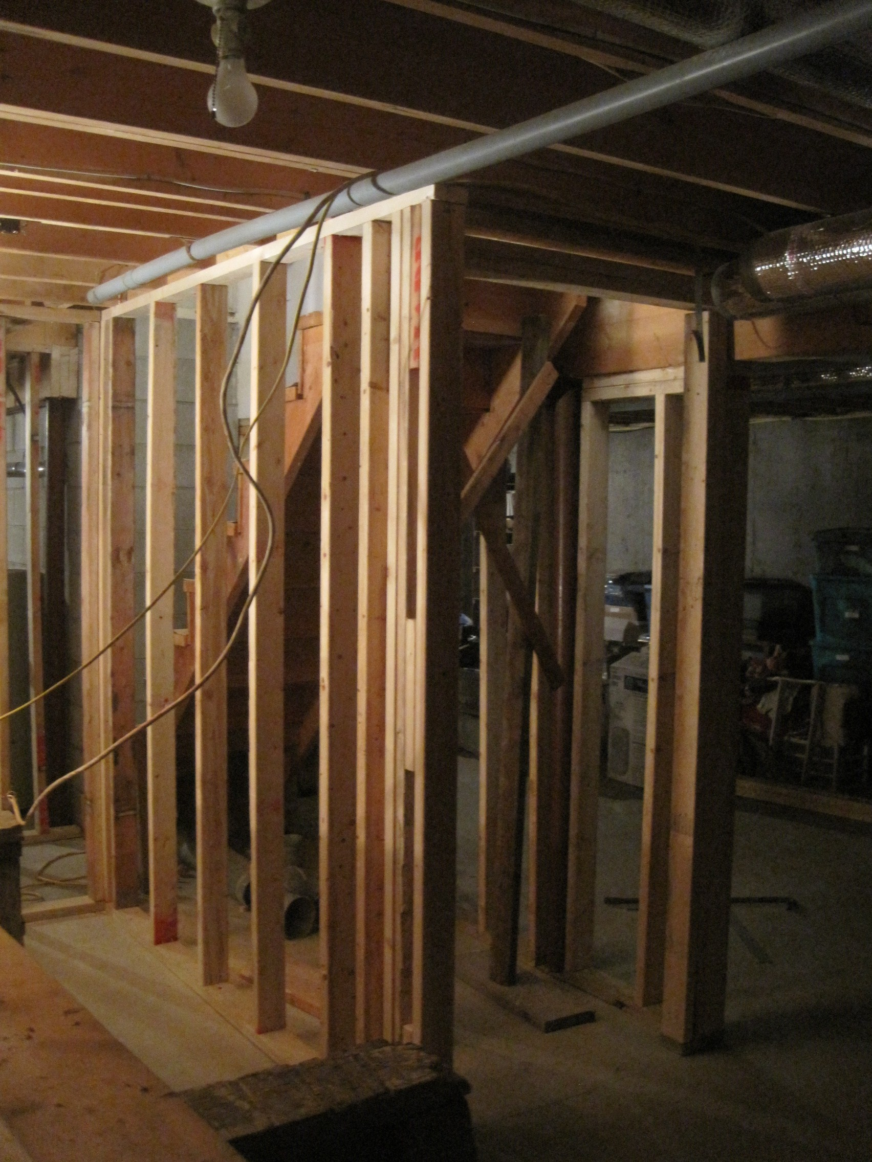 basement level wall framing for new basement stairs home improvement
