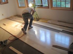 Main section of flooring being installed